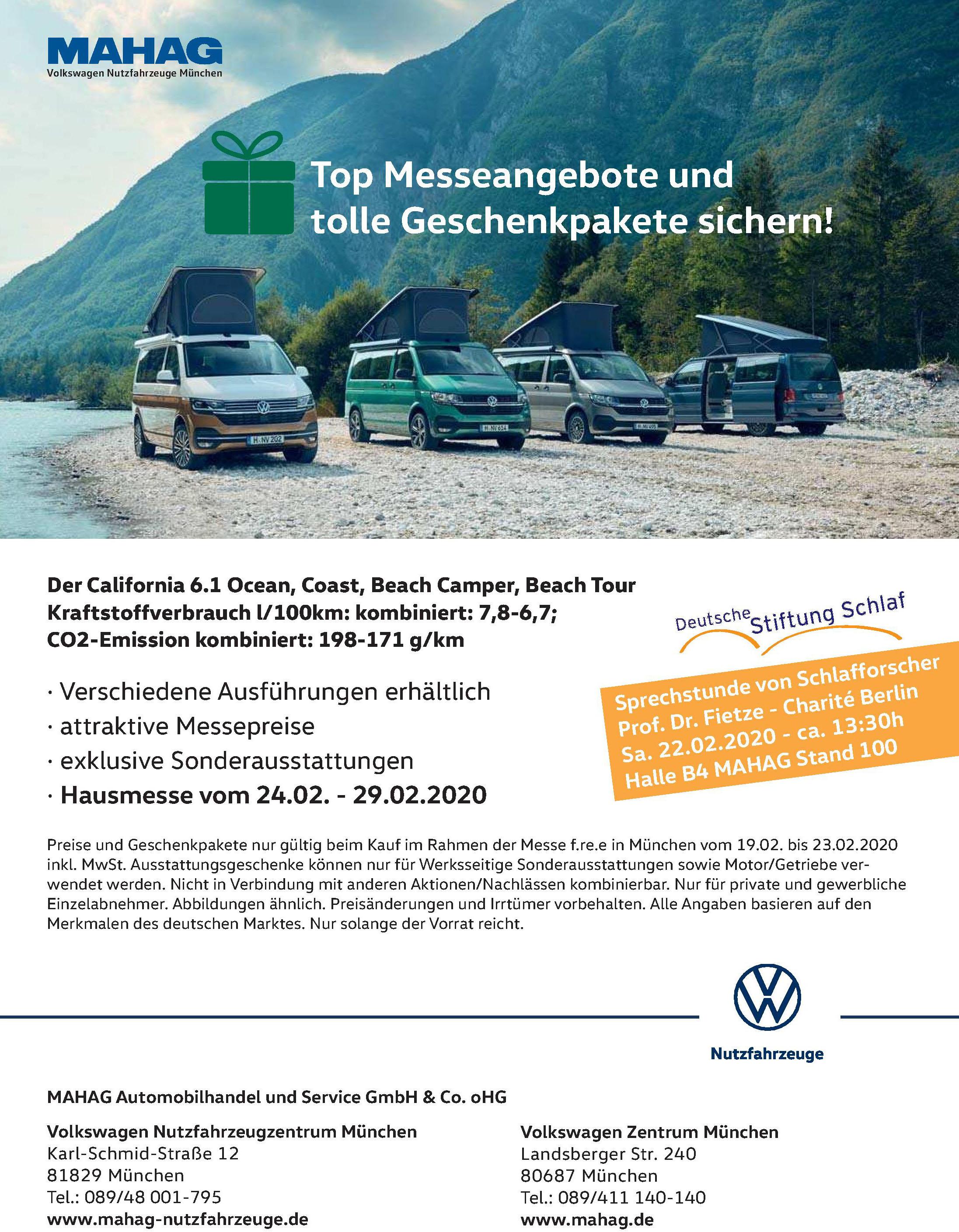 <br><b> MAHAG Automobilhandel und Service GmbH & Co. oHG </b> </p> <br><b> Volkswagen Nutzfahrzeugzentrum München </b> <p></p> Karl-Schmid-Straße 12 <p></p> 81829 München <p></p> Tel.: 089/48 001-795 <p></p><a href='https://mahag-nutzfahrzeuge.de'>mahag-nutzfahrzeuge.de</a> </p> <hr> <br><b> Volkswagen Zentrum München </b> <p></p> Landsberger Str. 240 <p></p> 80687 München <p></p> Tel.: 089/411 140-140 <p></p><a href='https://mahag.de'>mahag.de</a> </p>