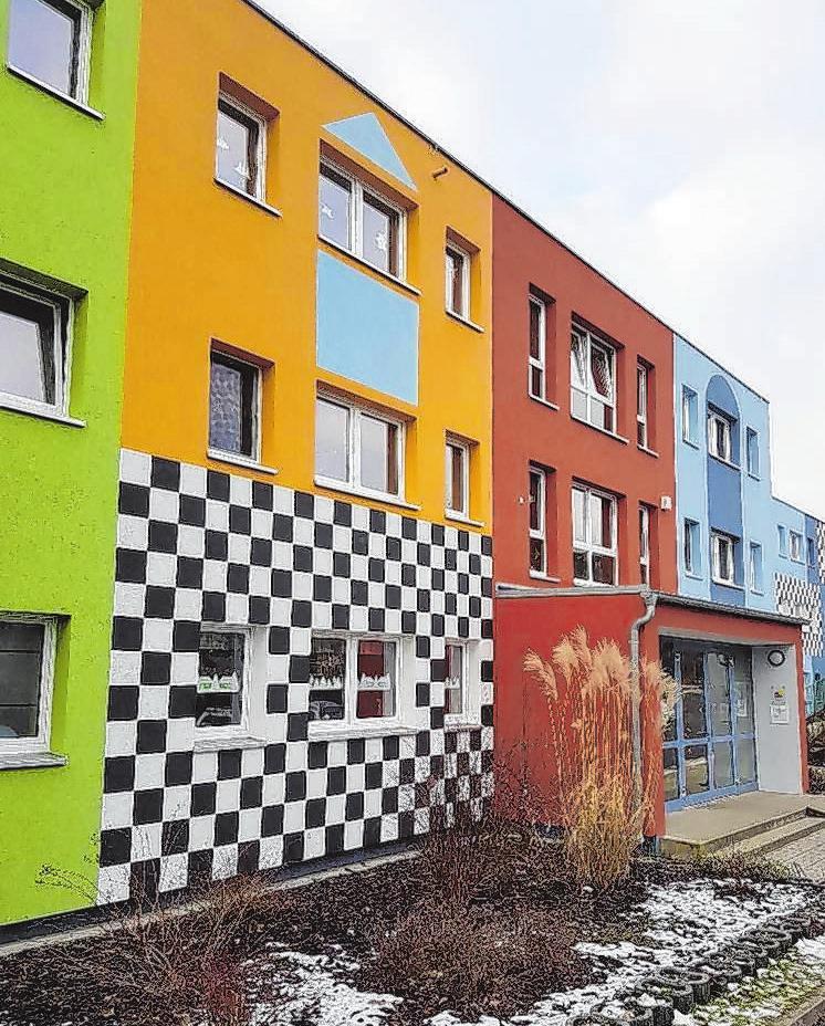 Eine auffallende Fassade ist nun Markenzeichen der Kita Bambi in Frankfurt (Oder).