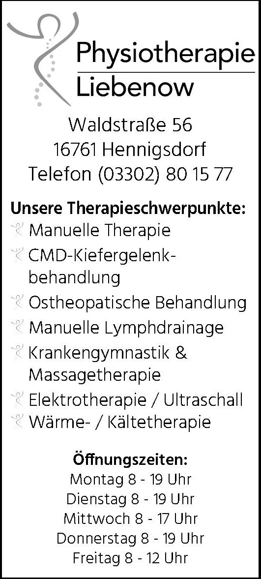 Physiotherapie Liebenow