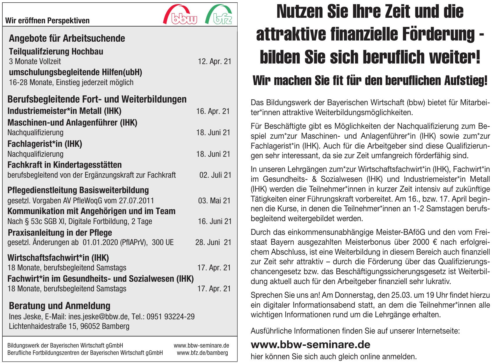 bbw Bildungswerk der Bayerischen Wirtschaft gGmbH