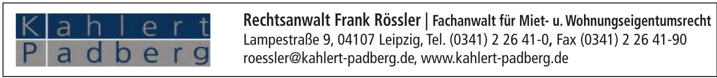 Rechtsanwalt Frank Rössler / Fachanwalt für Miet- und Wohnungseigentumsrecht