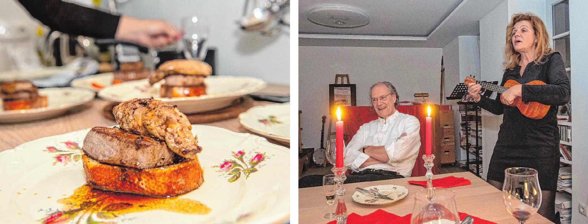 Jeanette Giese und ihr Partner Peter Moss servierten für das Stadtmagazin neben musikalischen Einlagen einen Klassiker aus der französischen Küche: Tournedos Rossini. / Bilder: Thomas Neu