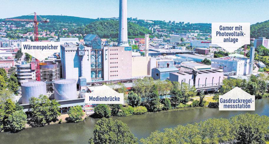 Die 5 Motoren des Gasmotorenkraftwerkes Römerbrücke (GAMOR) erzeugen Strom und Wärme durch die Verbrennung von Gas. Die Wärme wird genutzt, um damit Saarbrücker Fernwärme zu erzeugen, die im Wärmespeicher zwischengespeichert werden kann. Die Photovoltaikanlage an der Fassade von GAMOR erzeugt zusätzlich 100% Ökostrom. Foto: Energie SaarLorLux