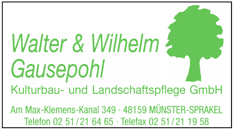 Walter & Wilhelm Gausepohl - Kulturbau- und Landschaftspflege GmbH