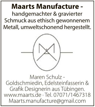 Maren Schulz - Goldschmiedin, Edelsteinfasserin & Grafik Designerin