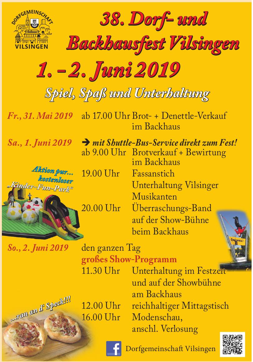 38. Dorf- und Backhausfest Vilsingen 1. - 2. Juni 2019
