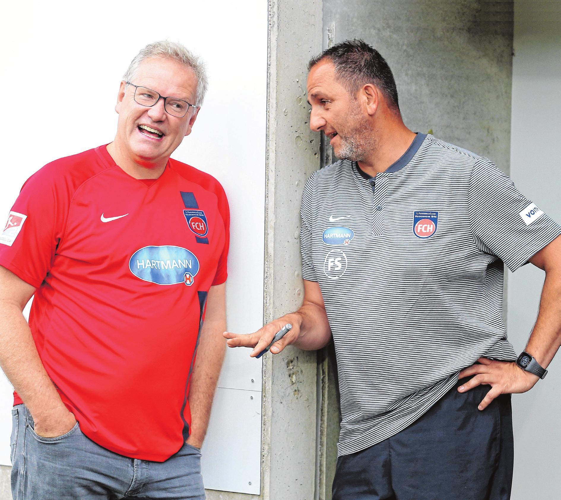 Holger Sanwald (FCH Vorstandsvorsitzender) und Frank Schmidt (FCH Cheftrainer) freuen sich auf die Saison 2019/20