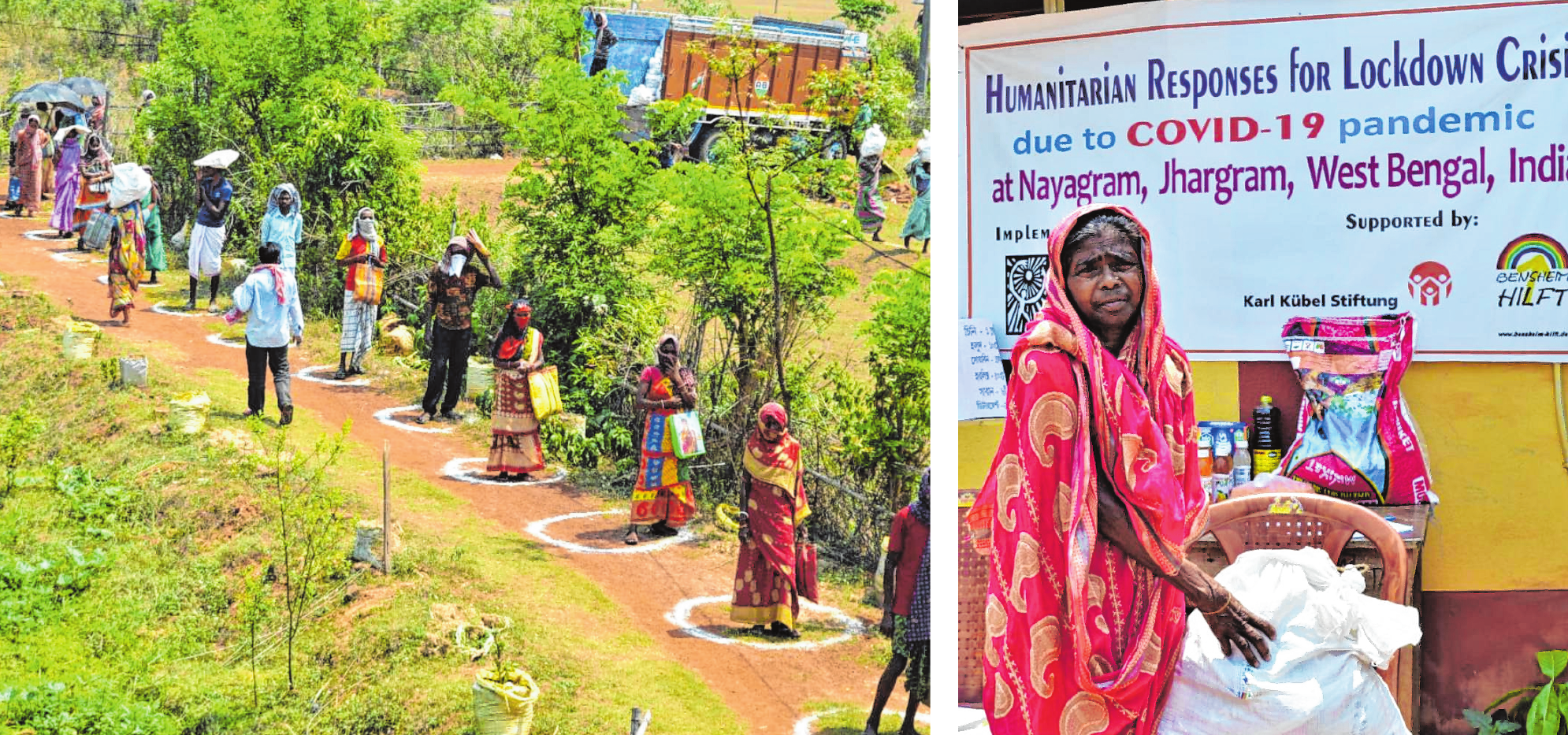 """Während der Corona-Pandemie starteten """"Bensheim hilft"""" und Karl-Kübel-Stiftung ein Nothilfeprojekt in West-Bengalen/Indien. Bilder: KKS"""