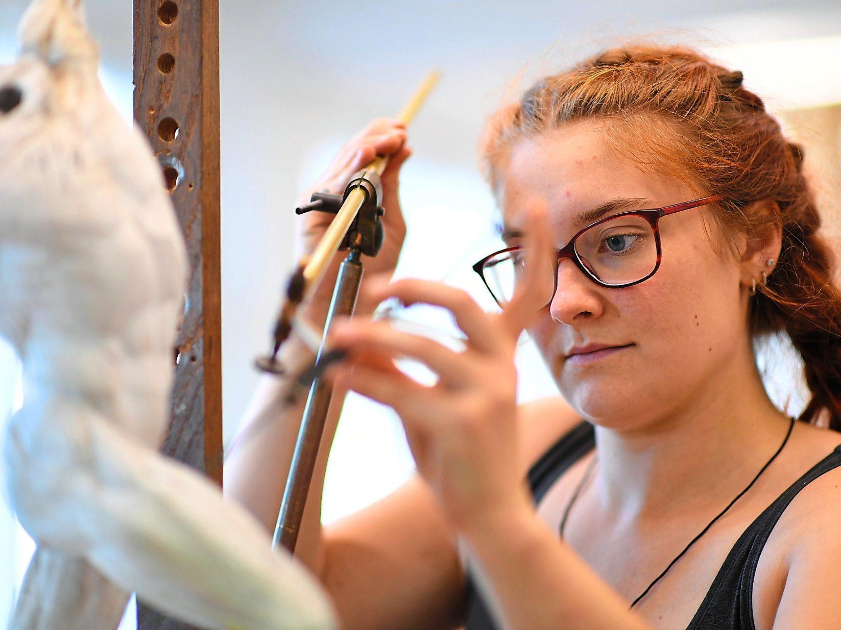 Die Proportionen müssen stimmen: Dafür lernen angehende Holzbildhauer wie Sophia Böhner Übertragungstechniken wie das Punktieren. Foto: Angelika Warmuth/dpa