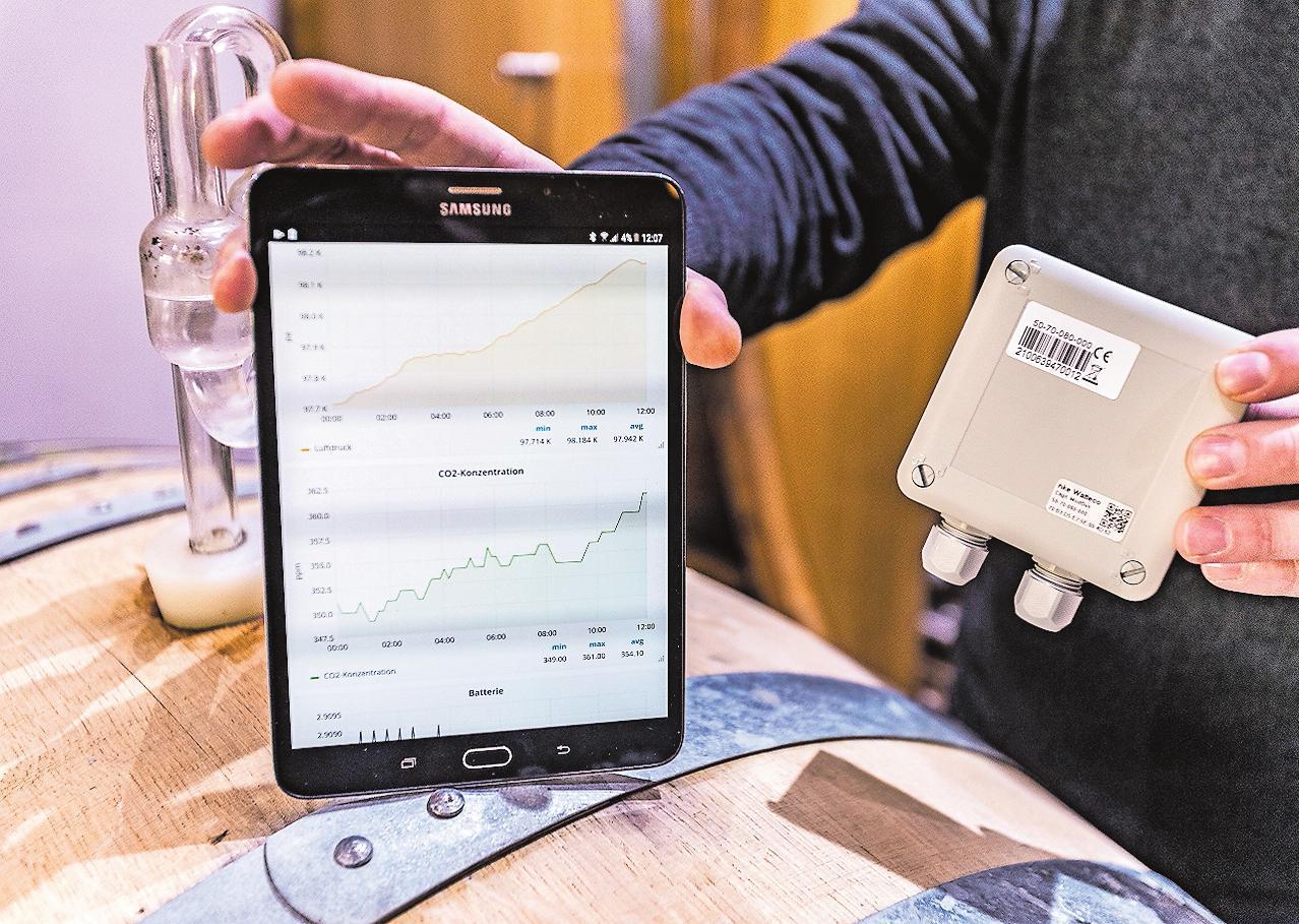 Praktische Anwendung von LoRaWan: Sensoren messen den CO2-Gehalt in einem Gärkeller. Die Daten werden per Funk übermittelt und ermöglichen eine Fernüberwachung. Im Weinbau wird das Netz tatsächlich schon eingesetzt. FOTO: PFALZWERKE/FREI