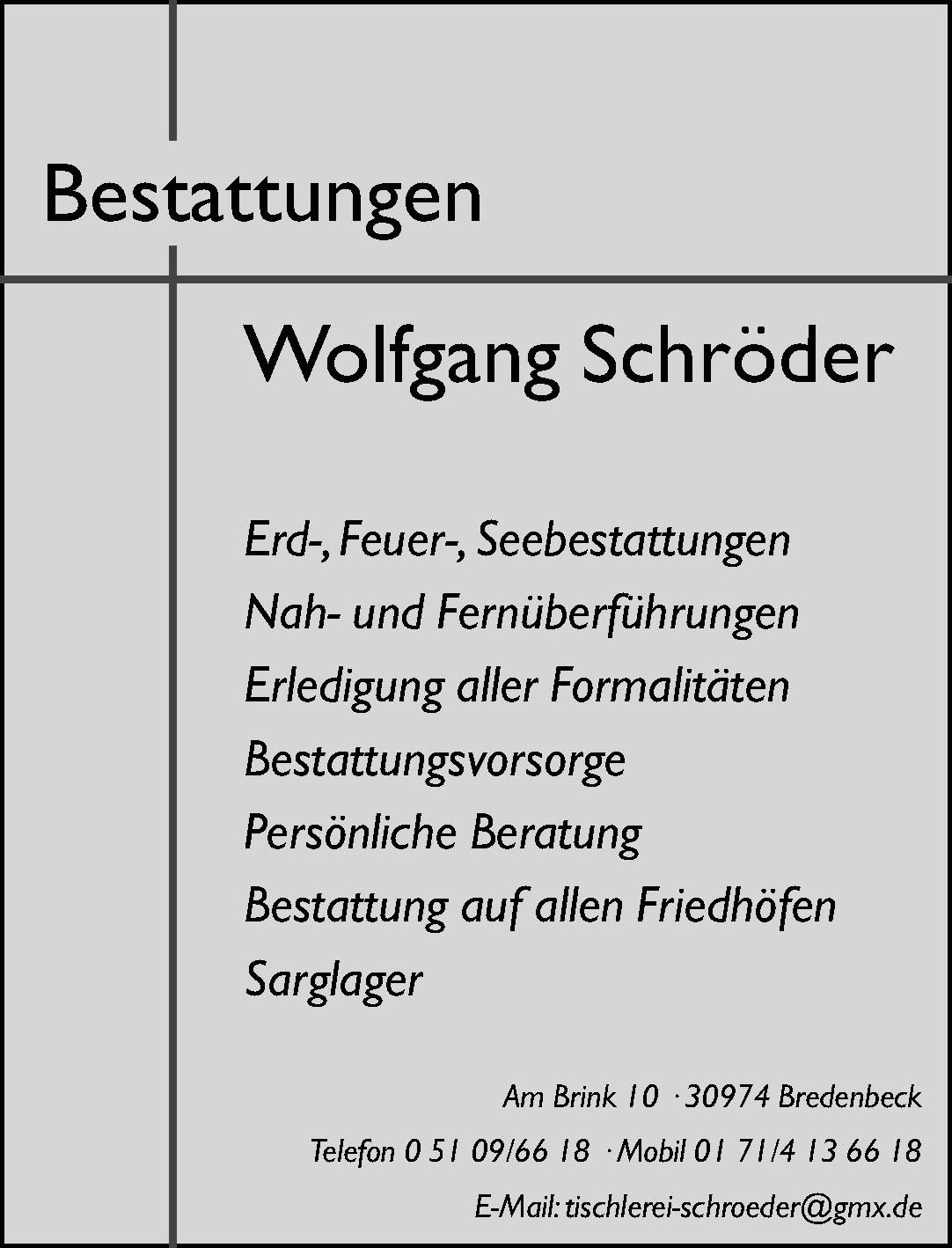 Bestattungen Wolfgang Schröder