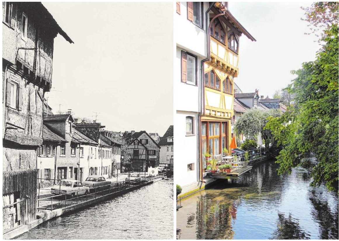 Blick ins Fischerviertel, damals und heute. Es hat sich einiges getan in Ulms guter Stube.