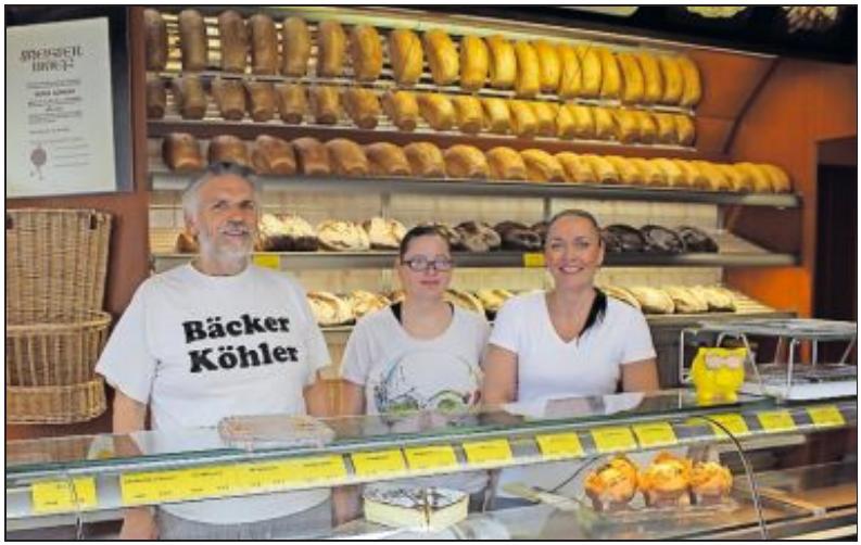 Kreieren und verkaufen Brote, Brötchen, süße Teilchen und Kuchen: Bäckermeister Peter Köhler und die Mitarbeiterinnen Nadine Merker und Tamara Lex (von links).FOTO: MÖBUS