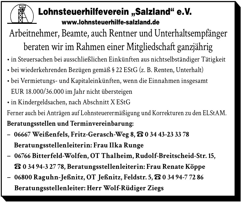 "Lohnsteuerhilfeverein ""Salzland"" e.V."