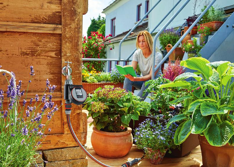 Automatische Bewässerung auf Balkon und Terrasse.Foto: Gardena