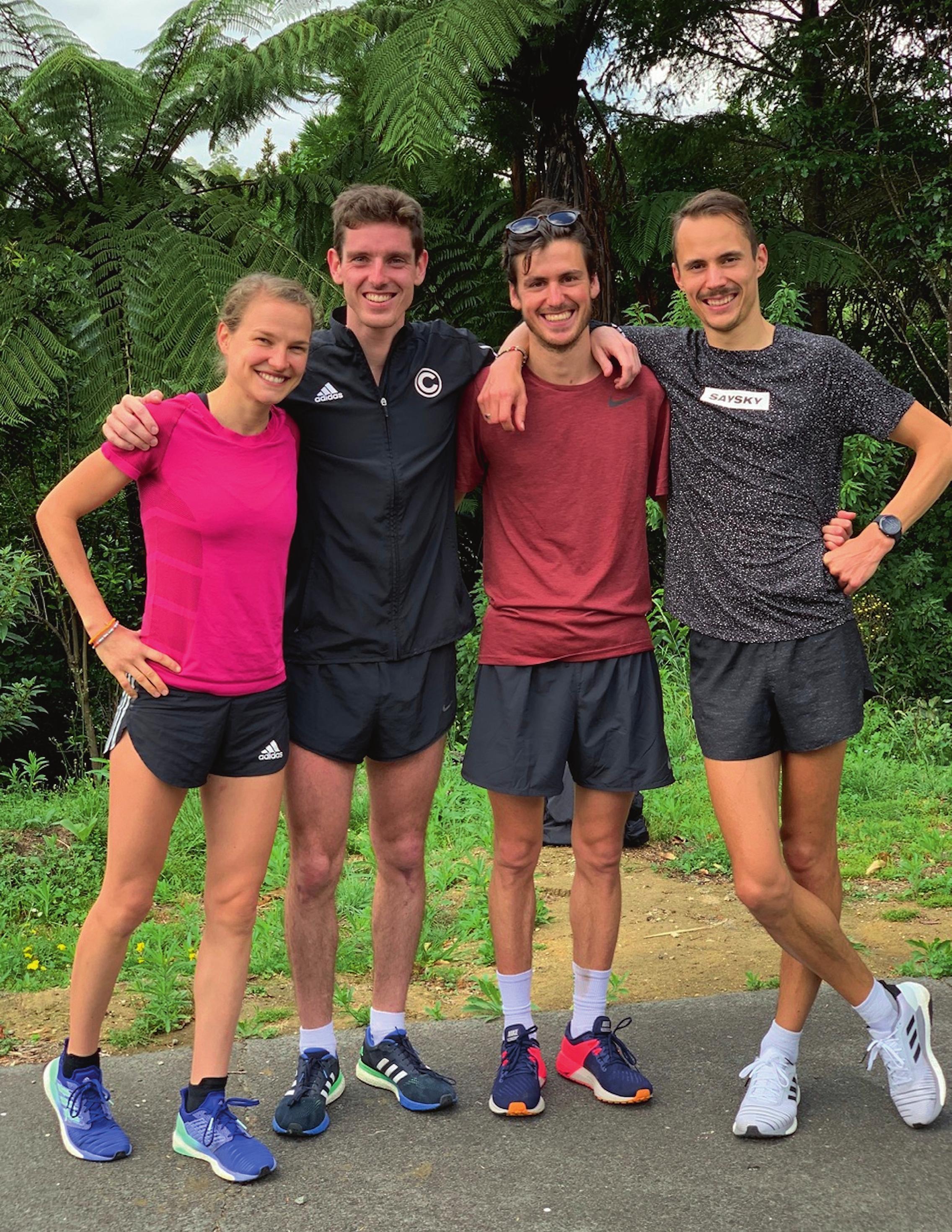 Trainingsgrüppchen (v.l.): Lisa Hahner, Fabian Clarkson, Valentin Pfeil und Philipp Baar