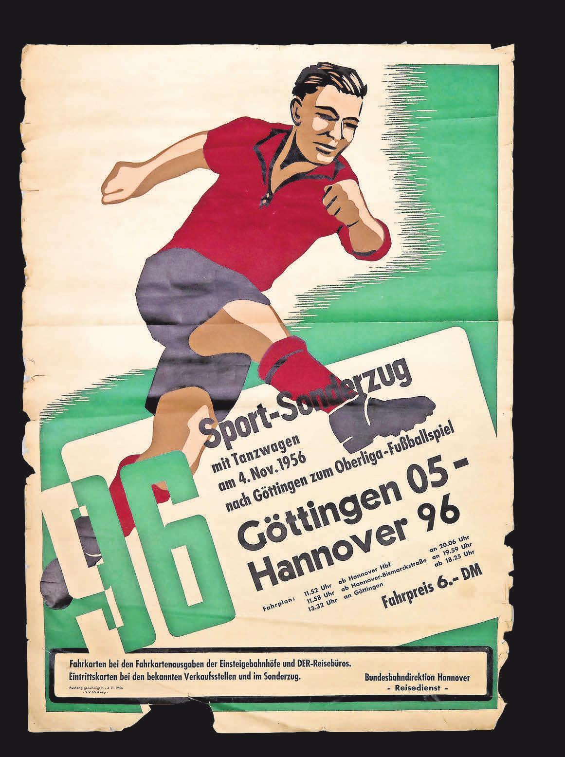 ENTSCHULDINGEN SIE, IST DAS DER SONDERZUG NACH GÖTTINGEN? Mit Tanzwagen ging es im Jahr 1956 nach Südniedersachsen, wovon dieses Spielankündigungsplakat zeugt. Florian Petrow