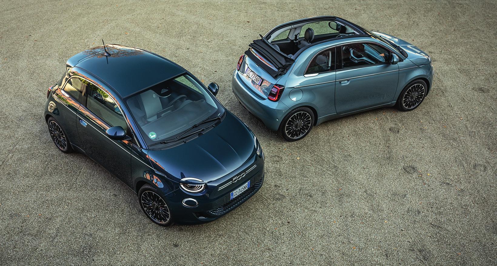 Der vollelektrische Fiat 500 als Limousine und Cabrio.