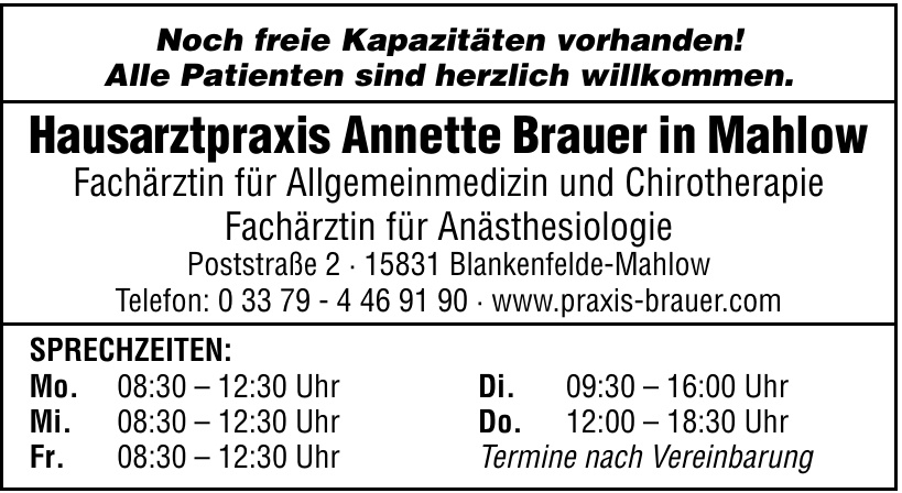 Hausarztpraxis Annette Brauer in Mahlow