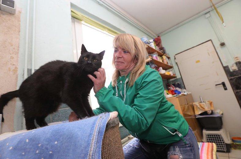 Manuela Leske und Kater Opi. Derzeit beherbergt das Tierheim 120 Katzen. Und es werden immer mehr. FOTO: ARCHIV/THOMAS RUTTKE
