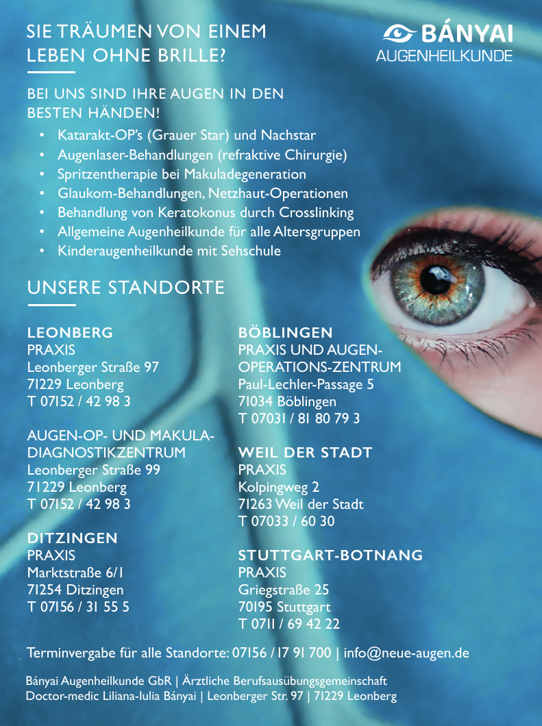 Bányai Augenheilkunde GbR - Doctor-medic Liliana-Iulia Bányai