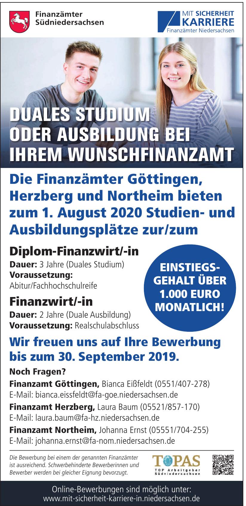 Mit Sicherheit Karriere Finanzämter Niedersachsen