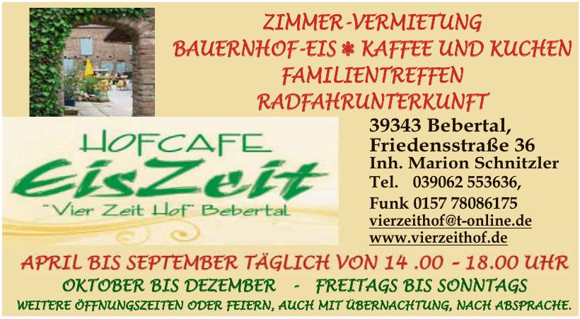 """Hofcafé """"EisZeit"""" – """"Vier Zeit Hof"""" Bebertal"""