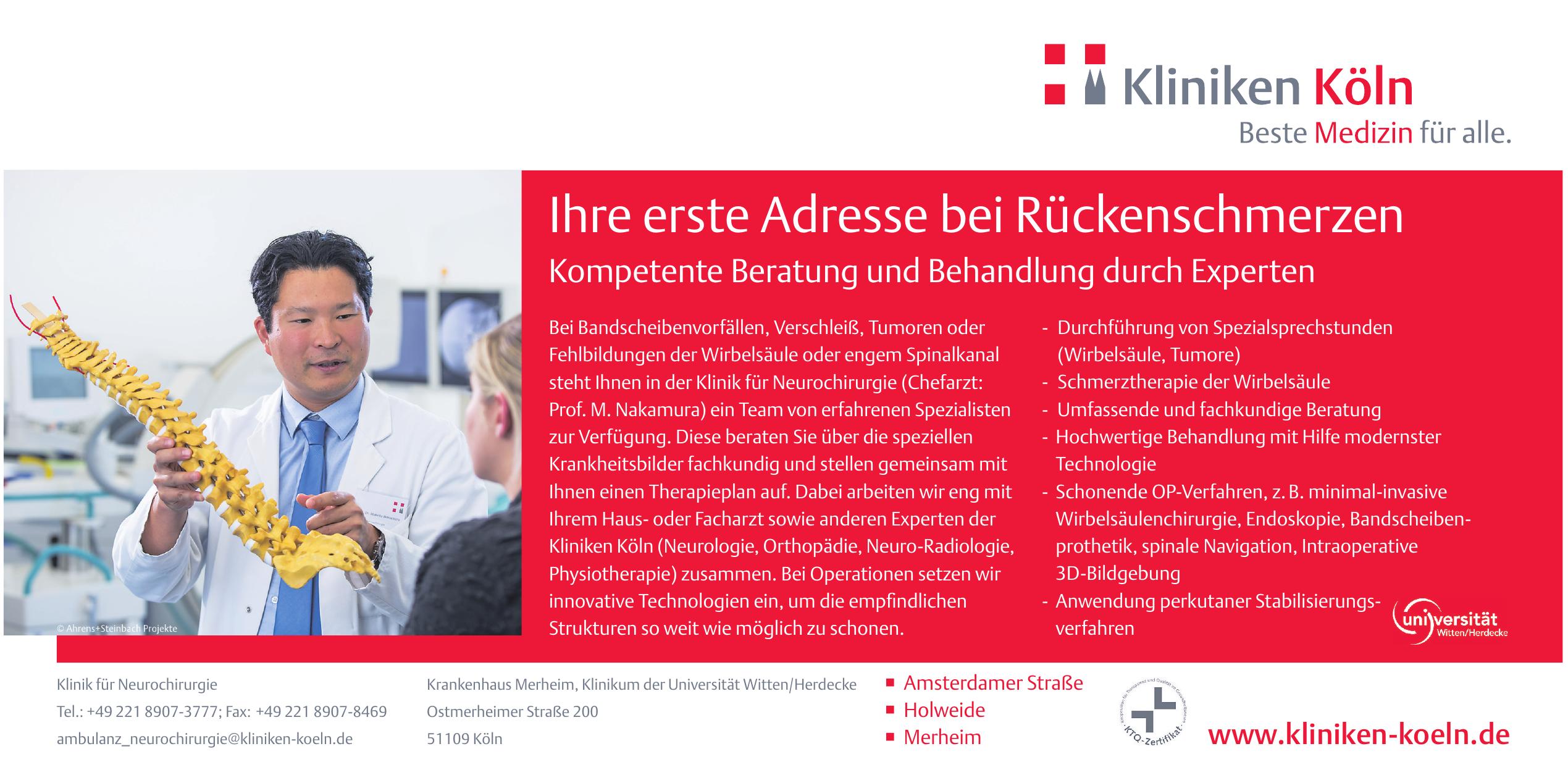 Krankenhaus Merheim, Klinikum der Universität Witten/Herdecke - Klinik für Neurochirurgie