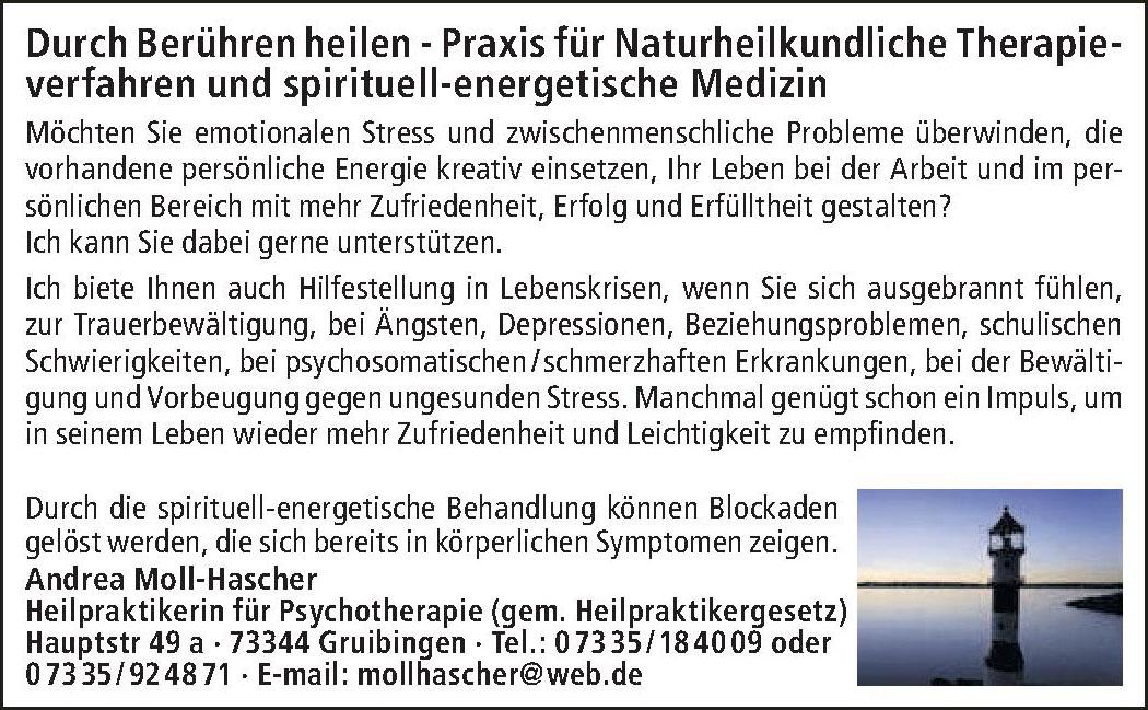 Andrea Moll-Hascher Heilpraktikerin für Psychotherapie (gem. Heilpraktikergesetz)