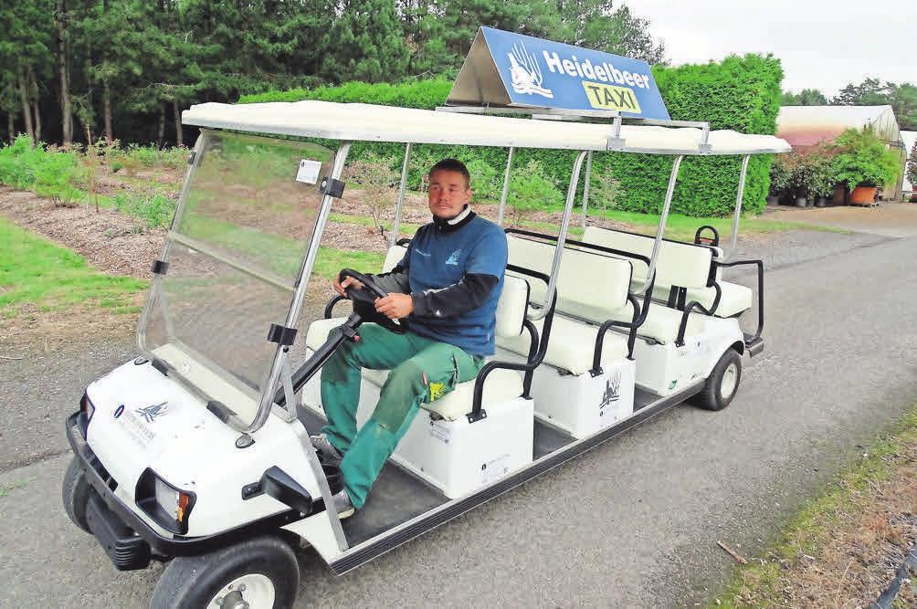 Mit dem Heidelbeer-Taxi bringt Christan Wassermann die Selbstpflücker zu den besten Stellen.