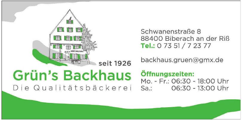 Die Qualitätsbäckerei Grün´s Backhaus