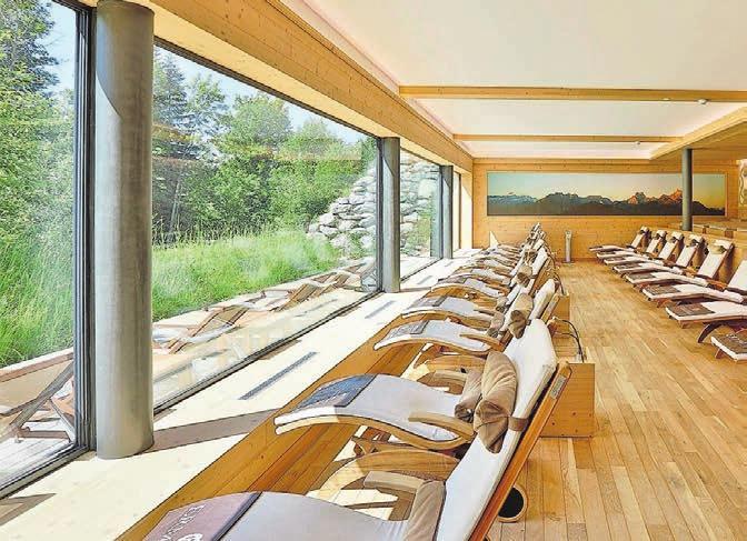 Der gemütliche Ruheraum «Chouflis Alp» im Wellness-Hotel Ermitage. Bild: zvg