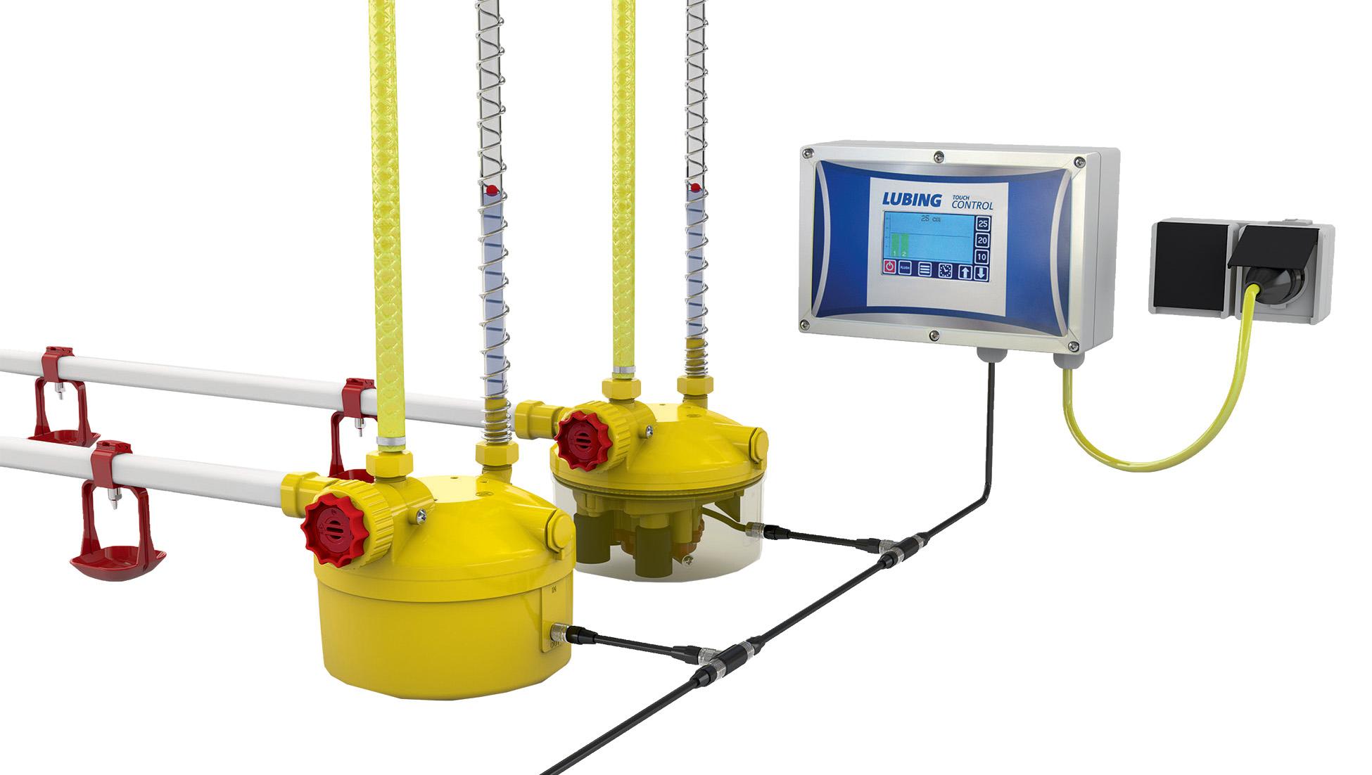 Das Druckminderer-System LUBING Optima E-Control regelt die Wassersäulen in den Tränkelinien automatisch.