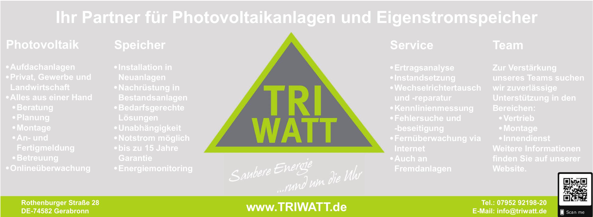 Fotovoltaikexperten der Tri Watt GmbH in Gerabronn beraten