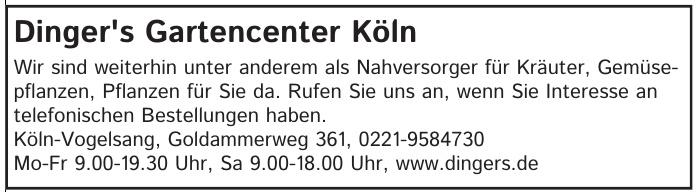 Dinger´s Gartencenter Köln