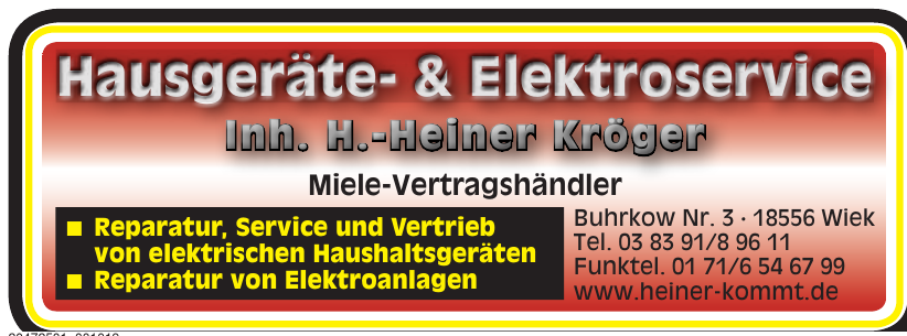Hausgeräte- & Elektroservice H.-Heiner Kröger
