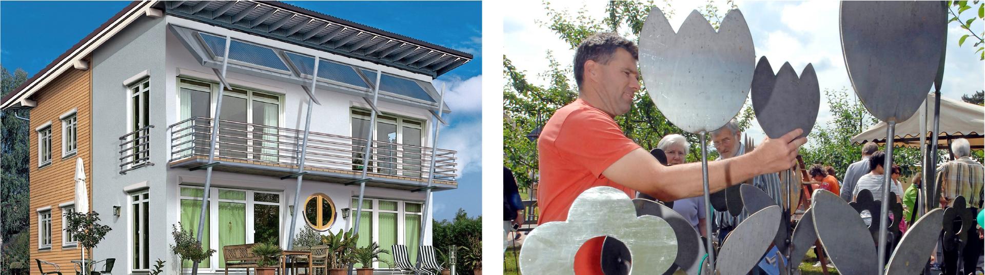 Vom Balkongeländer bis zum Dach: Die Bandbreite der Metallgestaltung rund ums Haus ist riesig. Auch Kunstwerke stellen die Metallbauer her. Fotos: dpa