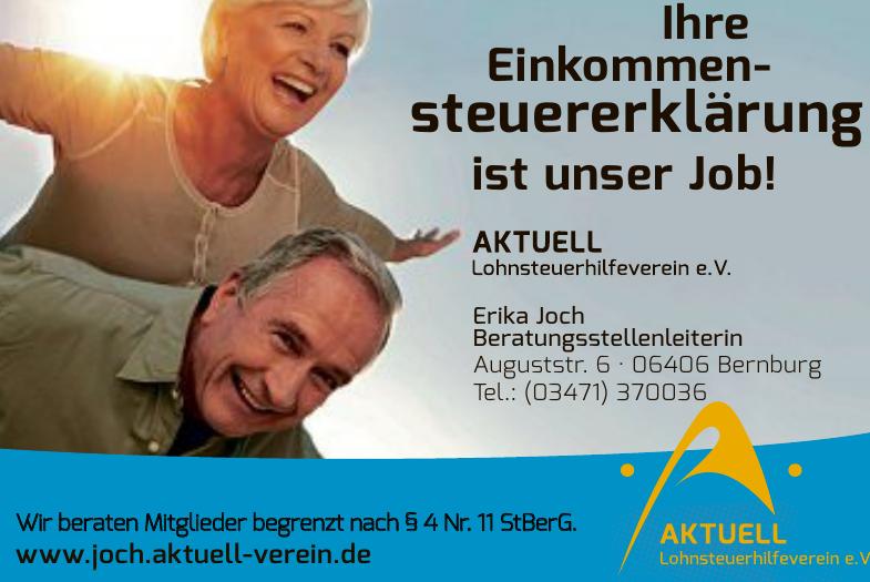 Aktuell Lohnsteuerhilfeverein e. V. Beratungsstellenleiterin Erika Joch