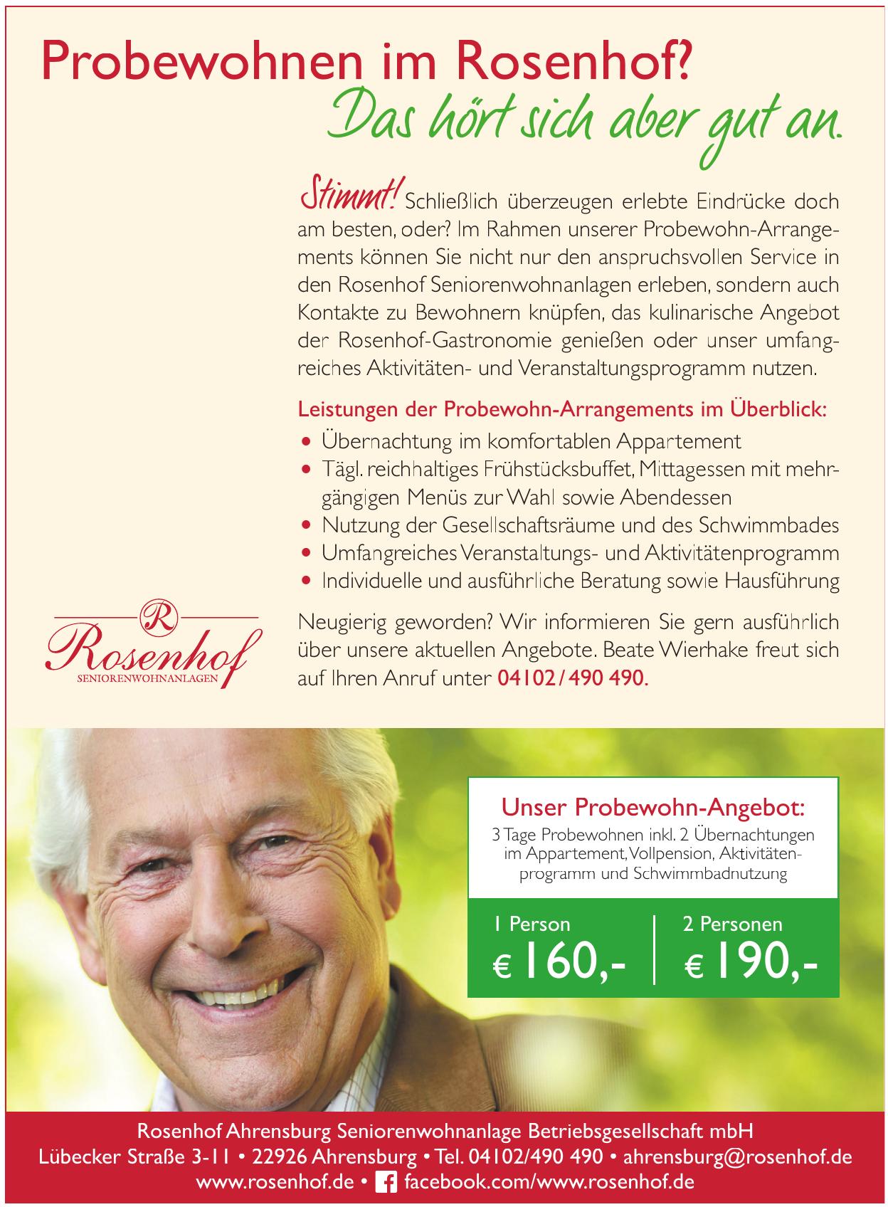 Rosenhof Ahrensburg Seniorenwohnanlage Betriebsgesellschaft mbH