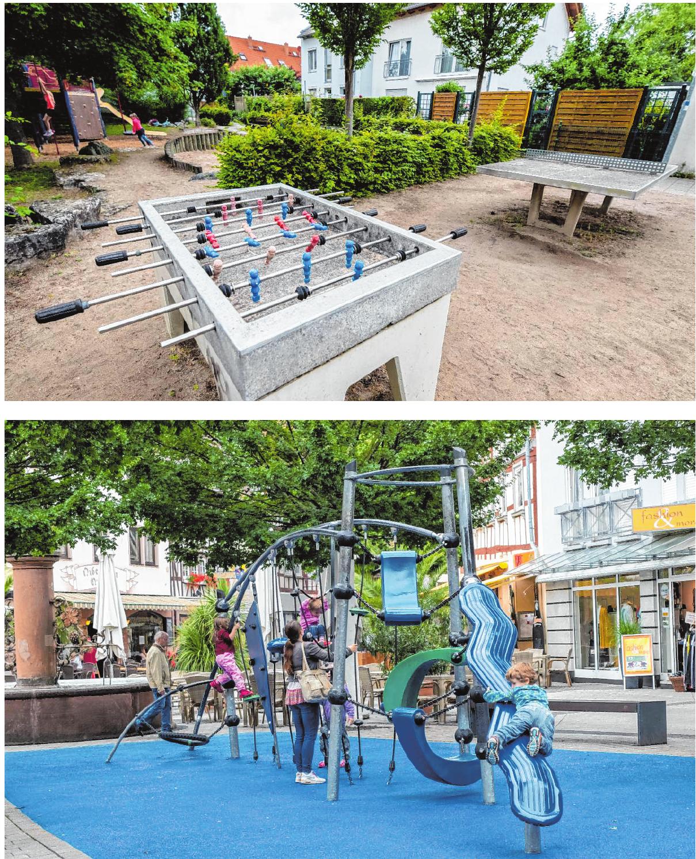 Alleinstellungsmerkmal des Spielplatzes in der Leo-Grewenig-Straße (oben): Hier gibt es einen Tischkicker. Zum Klettern laden die Geräte am Hospitalbrunnen (unten) ein. Bilder: Thomas Neu