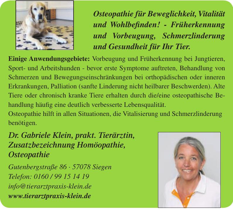 Dr. Gabriele Klein, prakt. Tierärztin, Zusatzbezeichnung Homöopathie, Osteopathie