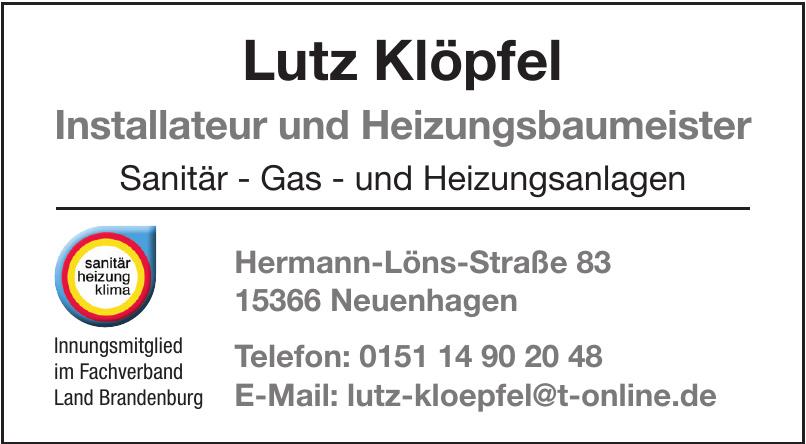 Lutz Klöpfel Installateur und Heizungsbaumeister