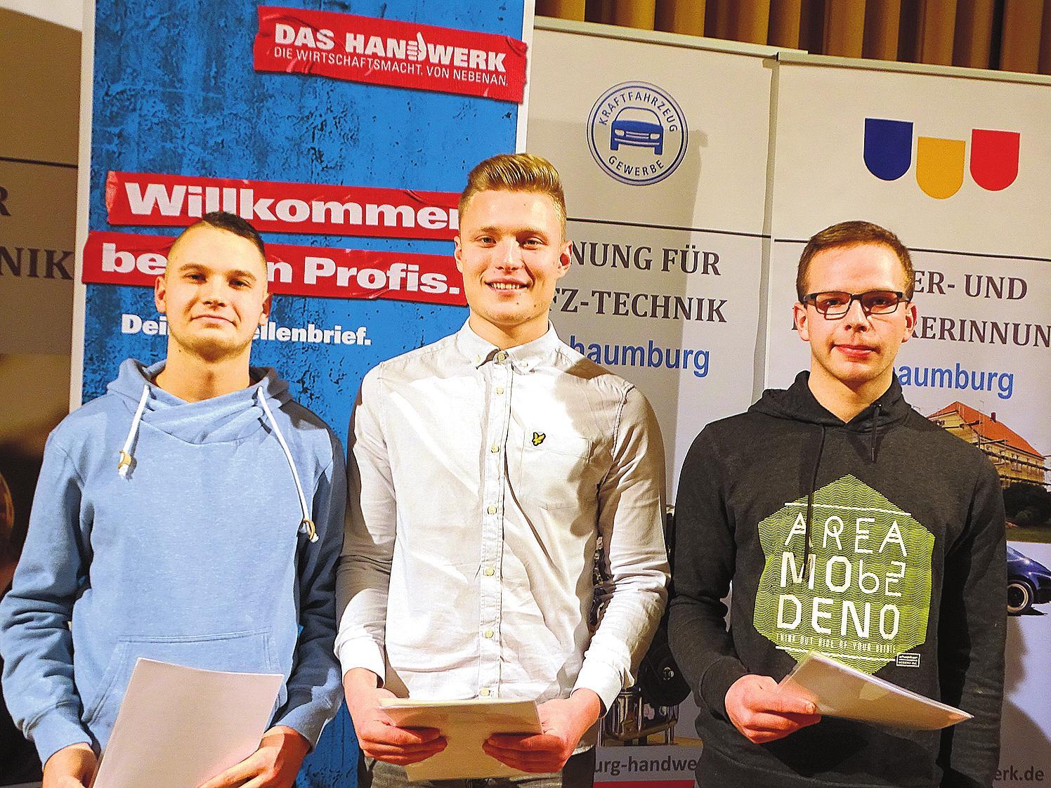 Maurer: Nico Dreier, Justin Kunze (beide Söffker Bau, Rinteln), Lewis Paul Tatum (Deister Baukonzept, Barsinghausen