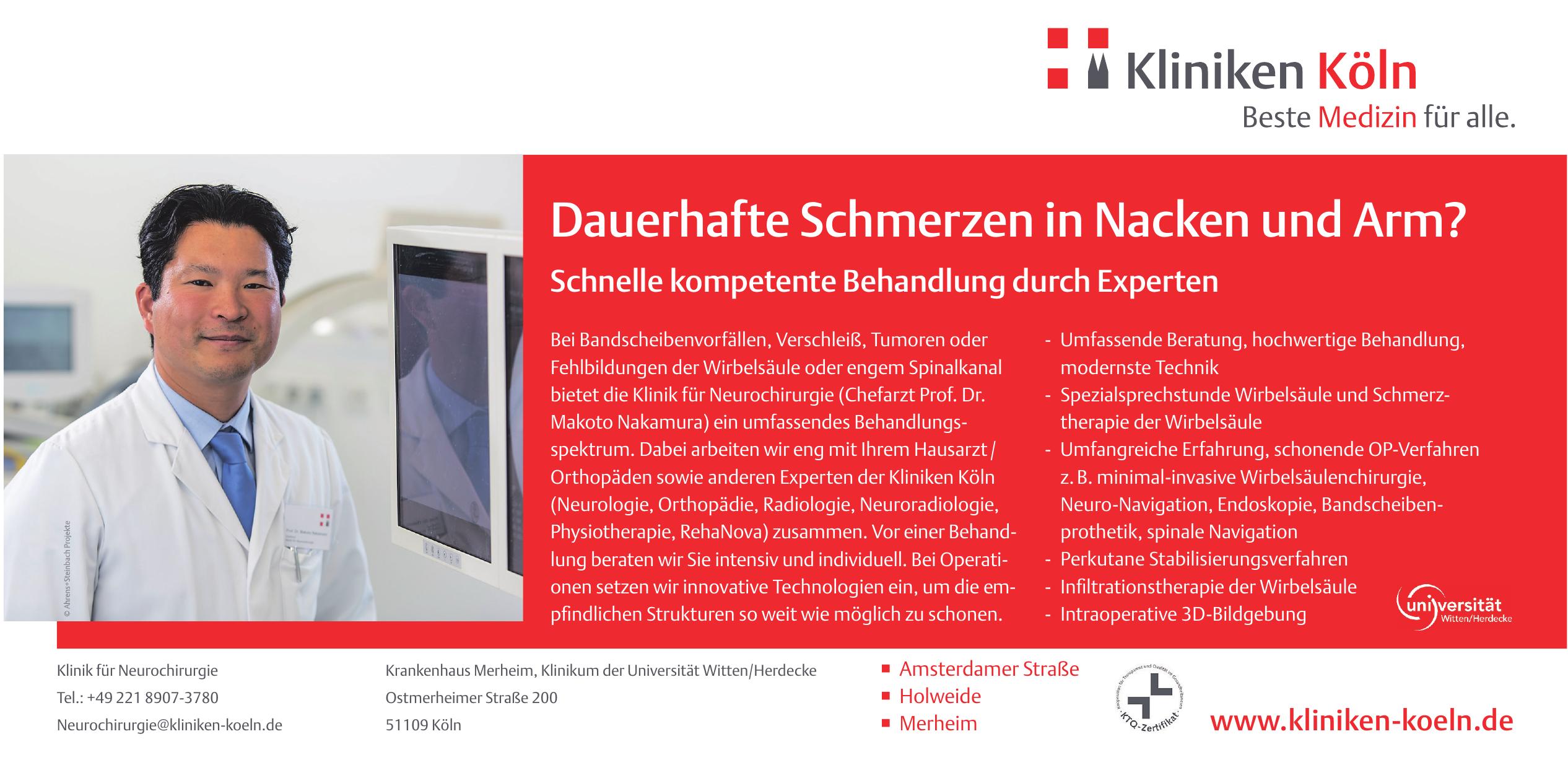 Klinik für Neurochirurgie - Krankenhaus Merheim, Klinik um der Universität Witten/Herdecke