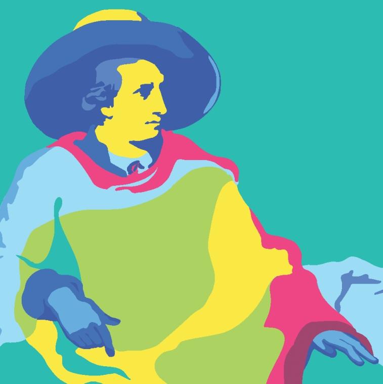 Goethe, Layout Maria Gottweis nach dem Gemälde von Johann Heinrich Wilhelm Tischbein, Goethe in der römischen Campagna, 1787 © Kunst- und Ausstellungshalle der Bundesrepublik Deutschland GmbH