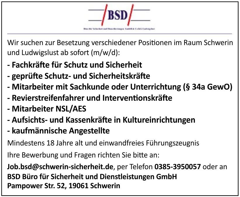 BSD Büro für Sicherheit und Dienstleistungen GmbH