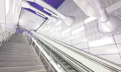 Spacig: die Treppenaufgänge in der unterirdischen Station