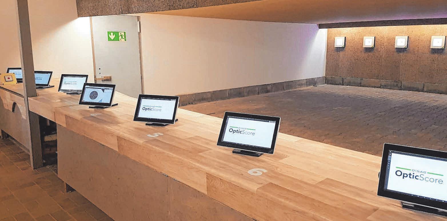 Die neue elektronische Schießanlage im Schützenhaus. Fotos: Schützenriege Grünkraut