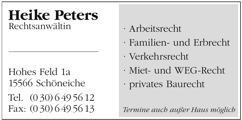 Heike Peters Rechtsanwältin