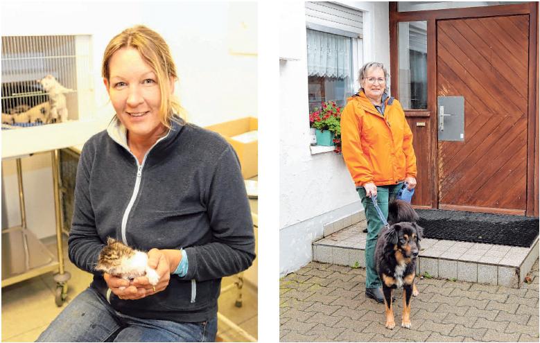 Tierpflegerin Tanja Bernhard füttert die wenige Wochen alten Katzenbabys mit der Spritze. Astrid Weber mit Hund Rocky. FOTOS: TSCH